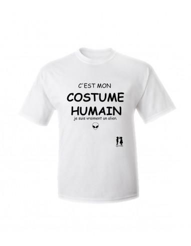 T-shirt humour pour adulte c'est mon costume humain je suis vraiment un alien